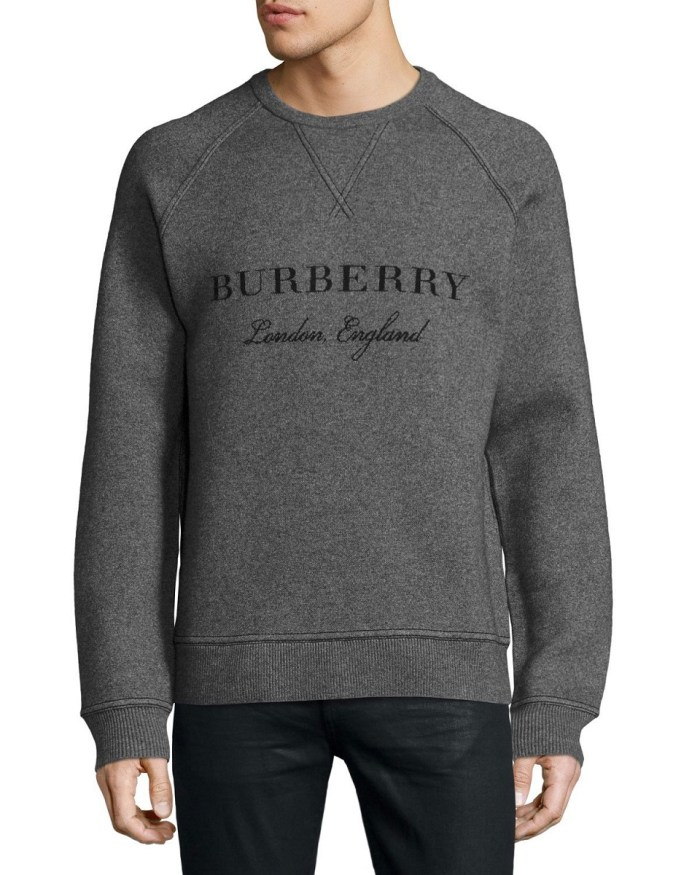 Burberry Belsford Wool-Cashmere Logo Gray Mens Sweatshirt