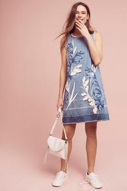 Denim Leaves Shift Dress by Holding Horses
