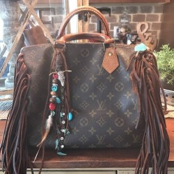 Louis Vuitton Speedy 30 Monogram Handbag. Upcycled. Fringed. Boho!