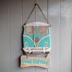 Gone Surfing VW Camper Van Fair Trade Wood Carving Sign