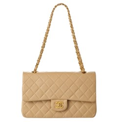 Chanel Beige Quilted Lambskin Medium Double Flap Bag