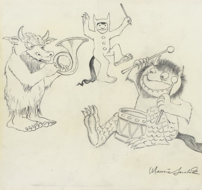 "Where the Wild Things Are ""Max, Moishe, and Bernard Making Music"" Original Drawing B ..."