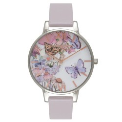 Painterly Prints Grey Lilac Butterfly Watch by Olivia Burton