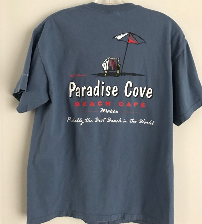 Paradise Cove Beach Cafe, Malibu CA, Medium Blue T-shirt