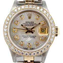 Rolex Datejust Lady 2Tone Diamond Dial 1ct Bezel 18K Gold Steel Watch