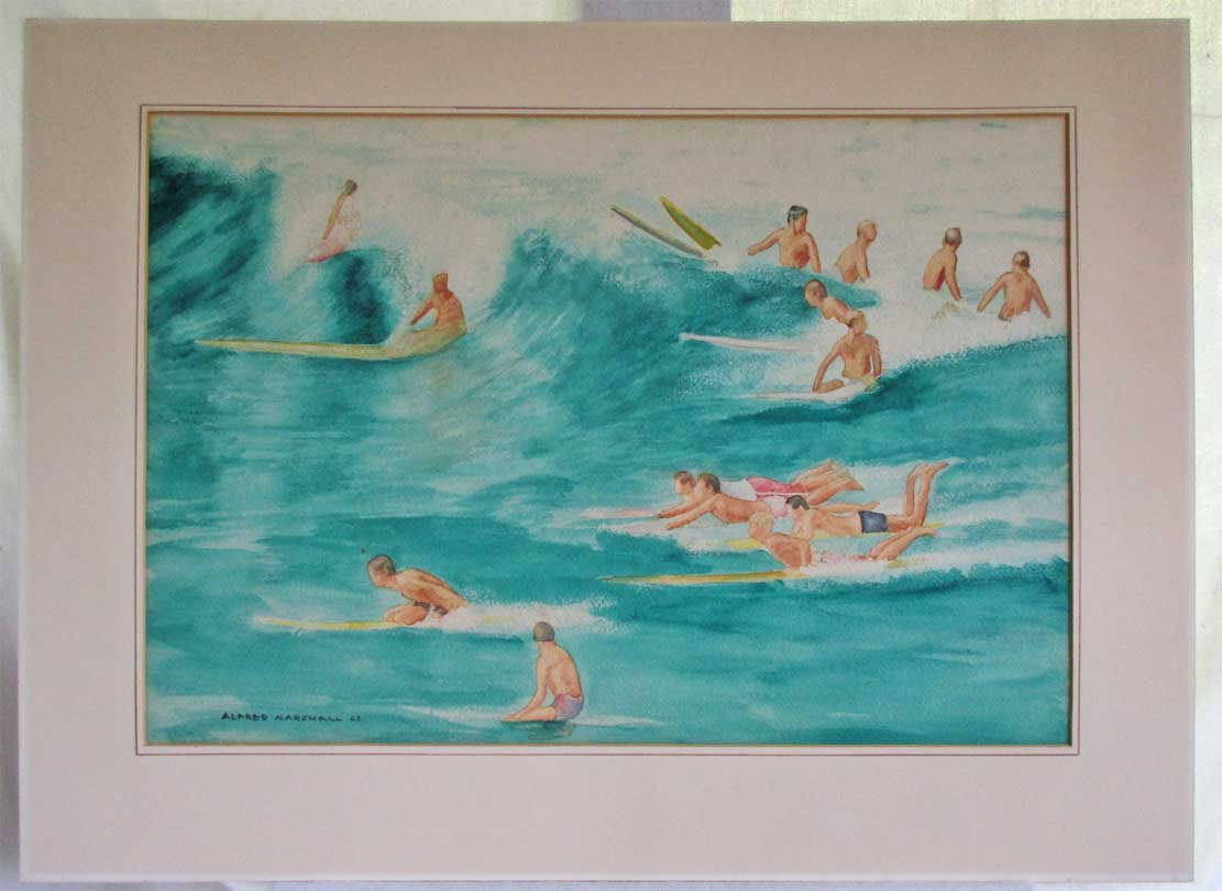 Modernist 1963 Surfing Watercolor Painting Vintage