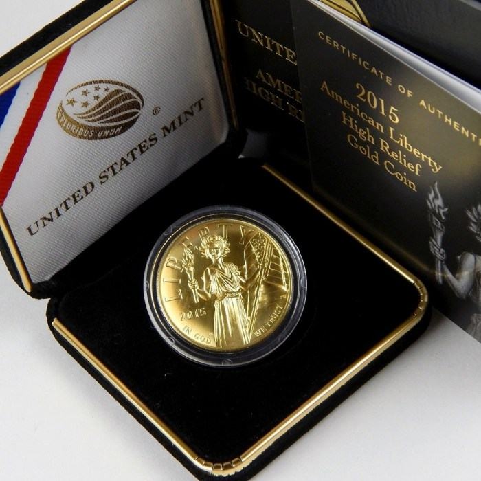 $100 American Liberty 2015-W High Relief Gold 1 Oz .9999 Fine Coin OGP COA