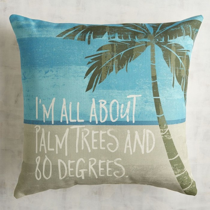 i m all about palm trees and 80 degrees printed pillow