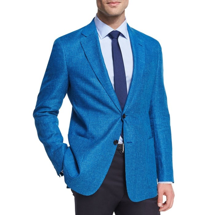 Armani Collezioni Houndstooth Linen-Wool Two-Button Sport Coat