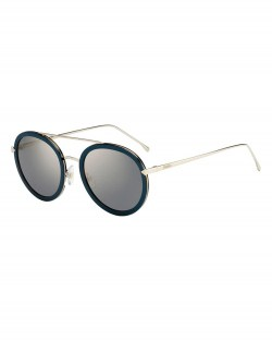 Fendi Trimmed Round Monochromatic Black Sunglasses