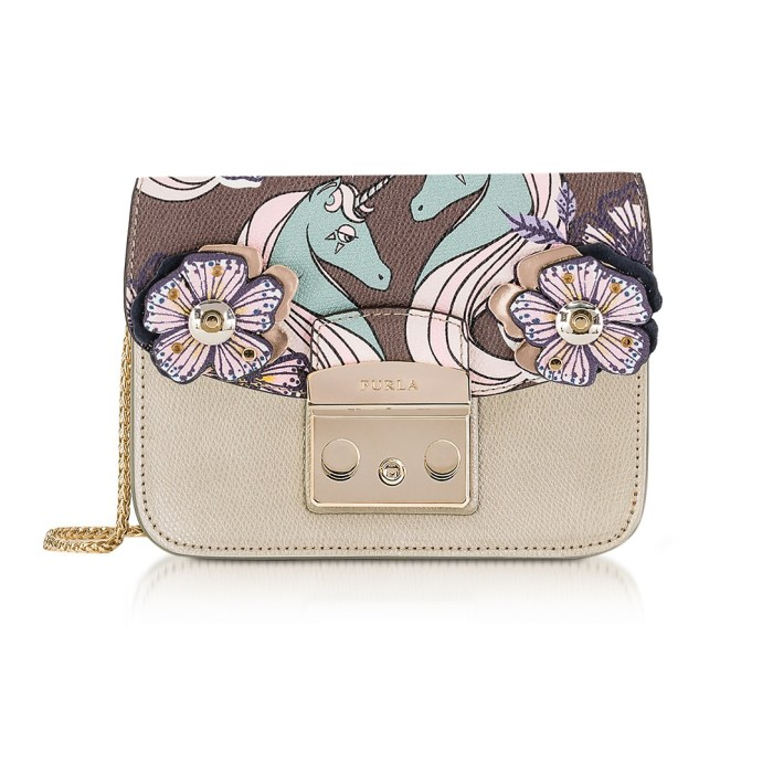 Furla Golden Khaki Metropolis Mini Crossbody Bag with Detachable Unicorn Flap