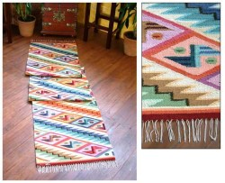 Handwoven Geometric Rainbow Cascade 2 x 10 Wool Area Runner Rug