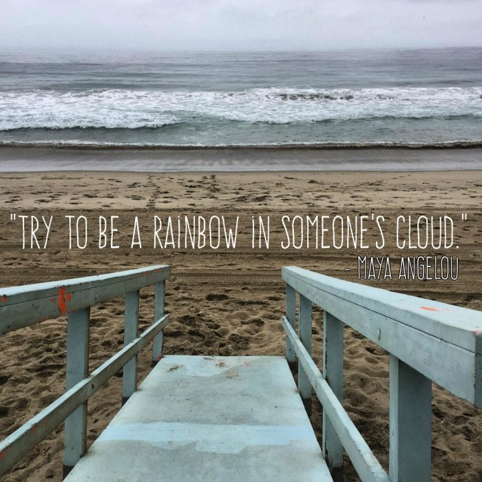 """Try to be a Rainbow in Someone's Cloud"" – Maya Angelou"