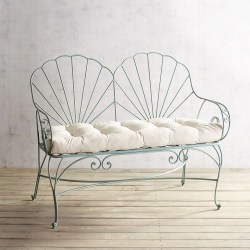 Teal Seashell Wrought Iron Bench