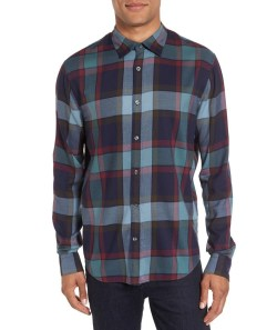 VINCE Regular Fit Mens Plaid Sport Shirt