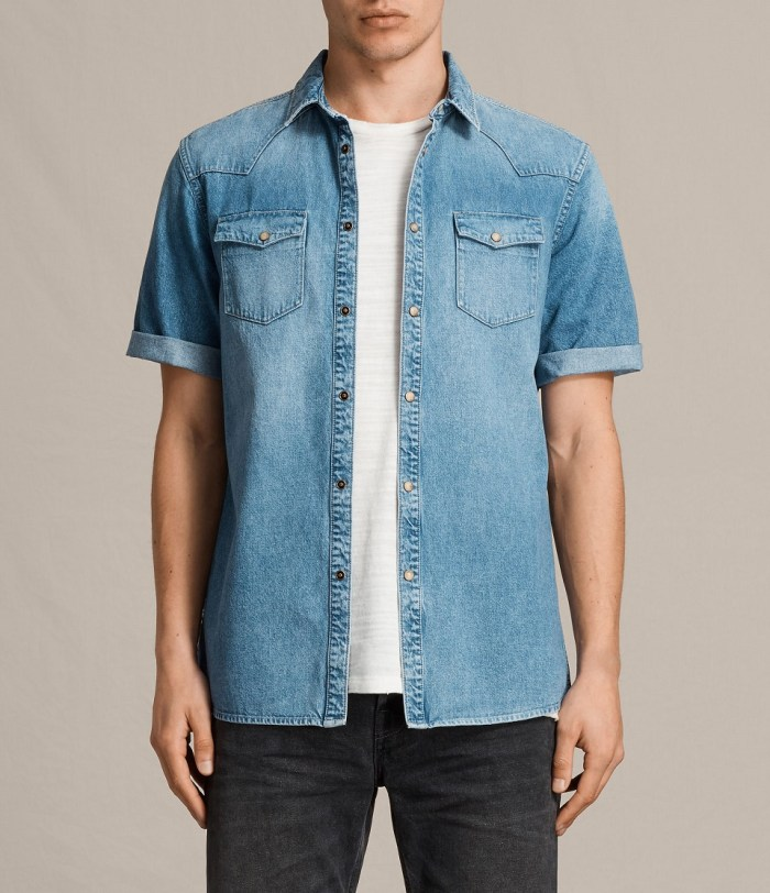 All Saints Ilford Short Sleeve Mens Denim Shirt