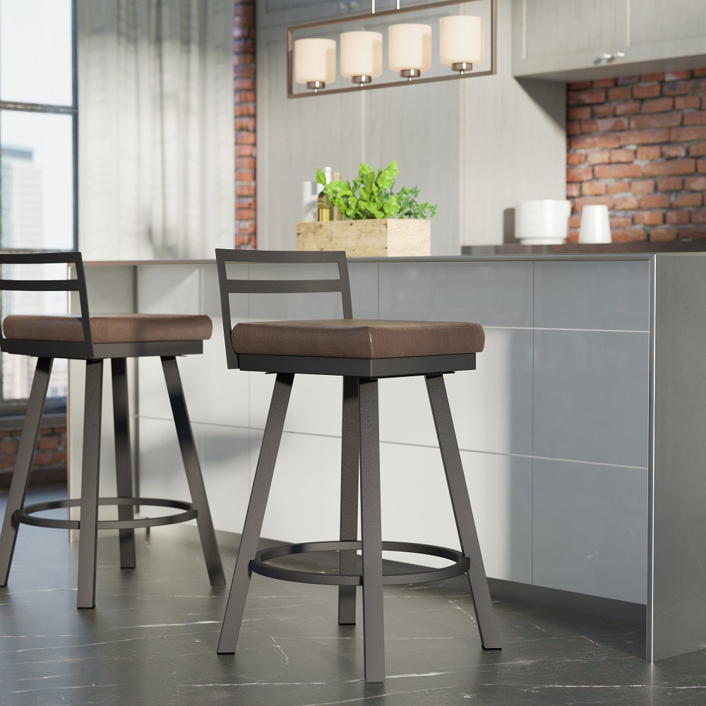 "Penton 26.75"" Swivel Low Back Bar Stool by Brayden Studio"
