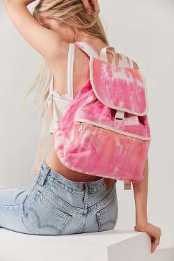Classic Flap-Front Canvas Tie Dye Backpack