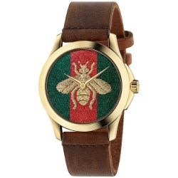 Gucci Swiss Le Marché Des Merveilles 38mm Brown Leather Strap Watch