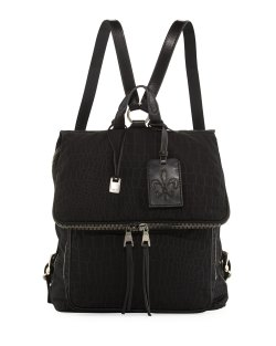 John Varvatos Men's Embossed Black Nylon Backpack