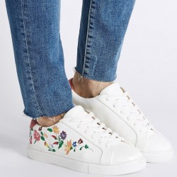Marks & Spencer Lace-up Trainers Floral Embroidered Shoes