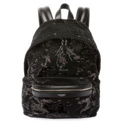 Saint Laurent Mini City Paillette-Embroidered Backpack