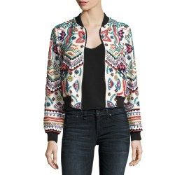 Alice + Olivia Lonnie Embroidered Cropped Silk Bomber Jacket