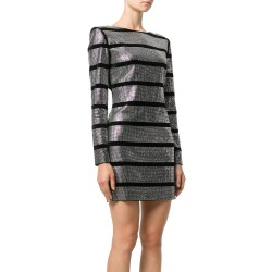 Balmain Crystal-embellished Striped Dress
