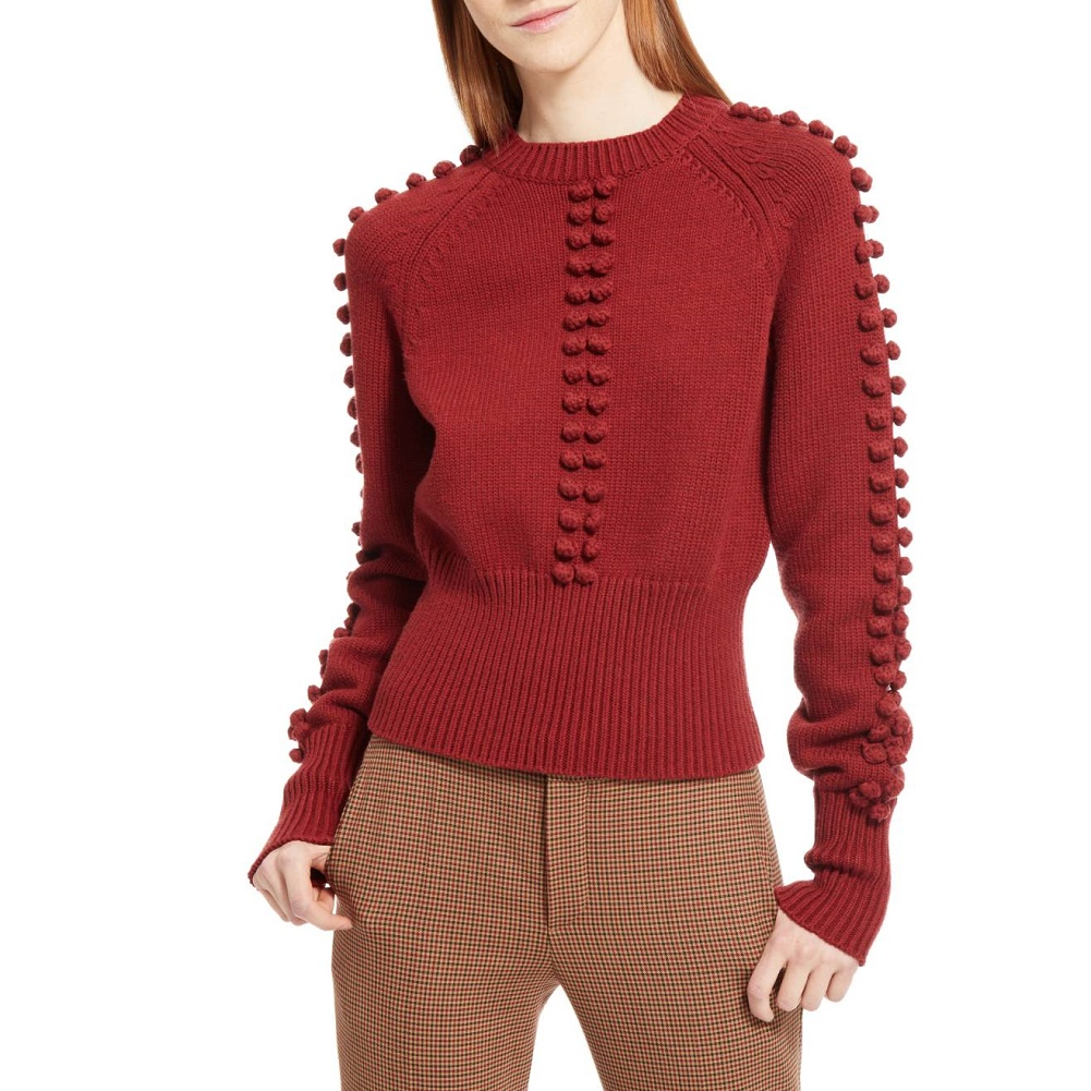 CHLOÉ Bobble Knit Red Sweater
