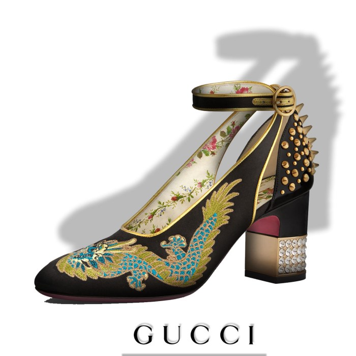 Gucci Caspar Embroidered Satin Ankle-Wrap Pump Womens Shoes