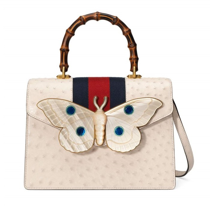 Gucci Falena Medium Ostrich Top-Handle with Moth Bag