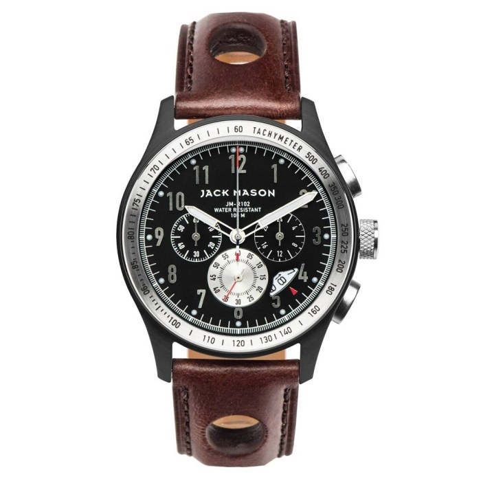 JACK MASON Chronograph 42mm Mens Leather Strap Watch