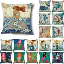 Vintage Home Decor Mermaids & Ocean Life Cotton Linen Pillow Case Cushion Cover
