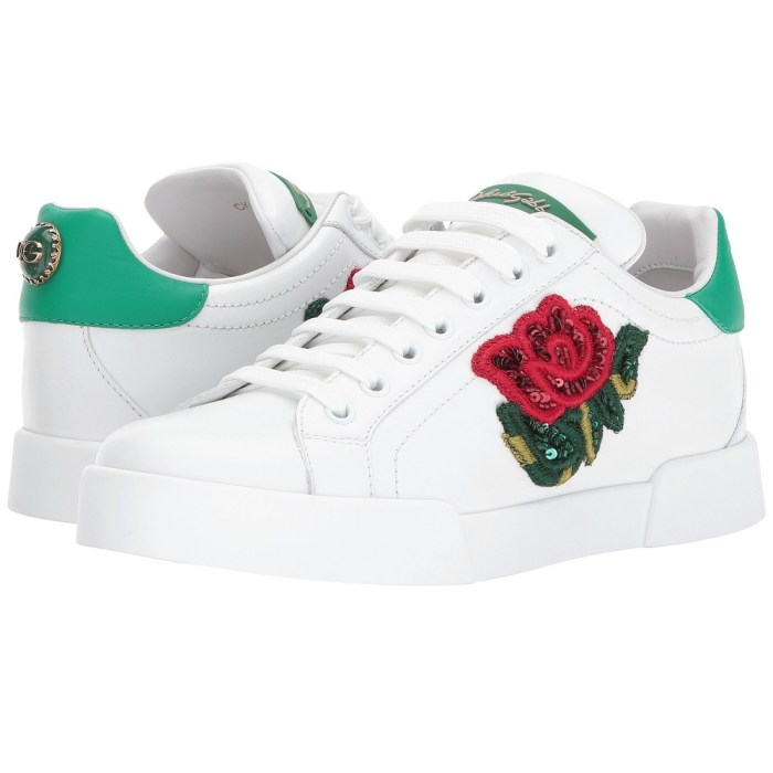 Dolce & Gabbana Sequin Rose Leather Sneakers