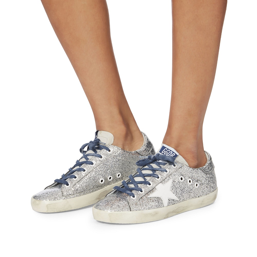 Golden Goose Superstar Blue Lace Silver Glitter Sneakers