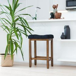 Wood Kitchen Counter Barstool – Backless Upholstered Saddle Seat, 24 Inch – Black Cu ...