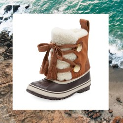 Chloe x Sorel Shearling Fur-Trim Weather Boots
