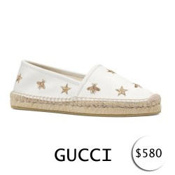 GUCCI Pilar Bee Embroidery Espadrille Slip-On Shoes