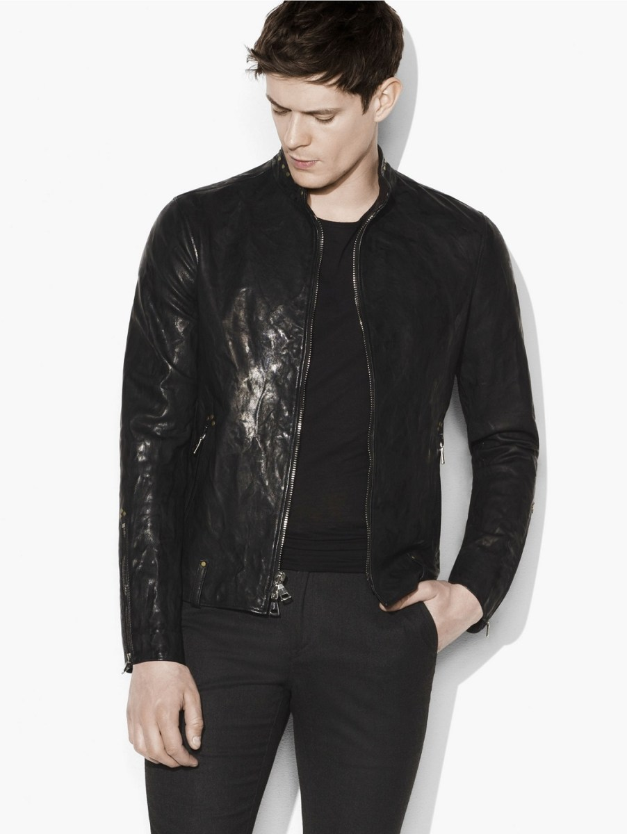 John Varvatos Rivet Studded Leather Jacket