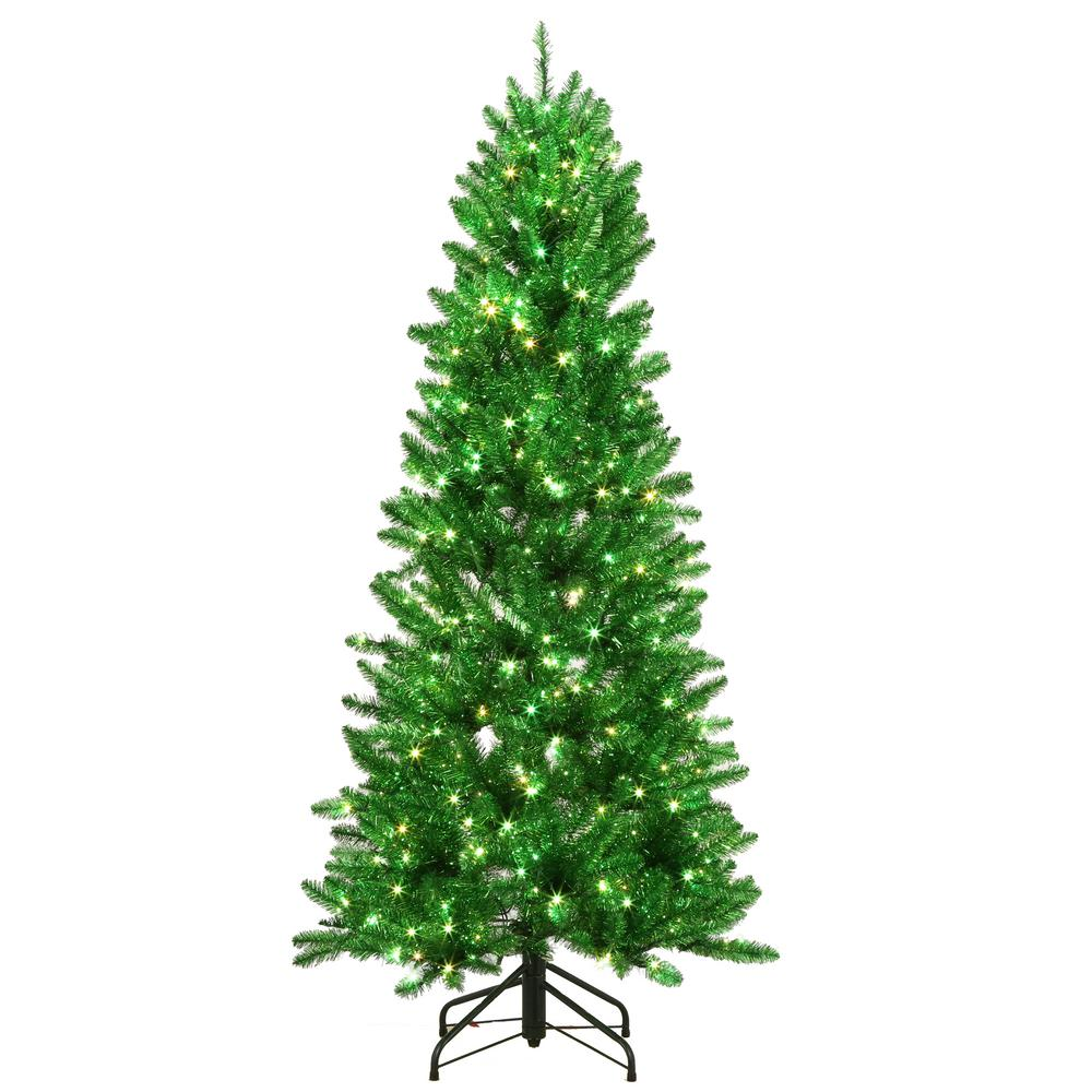 6 ft. Pre-Lit Shiny Green Fraser with Warm White and Green Color-Changing LED Lights Artificial Christmas Tree