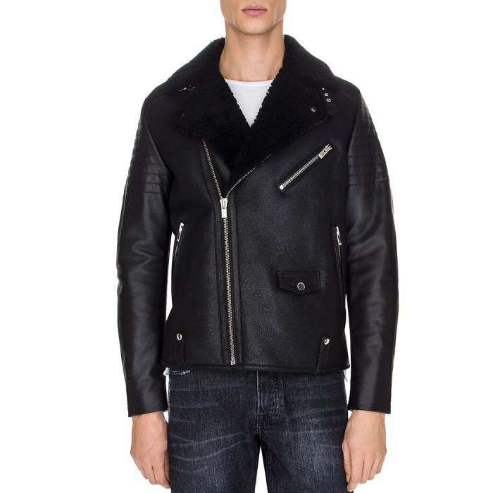 The Kooples Sheep Shearling Collar Biker Jacket