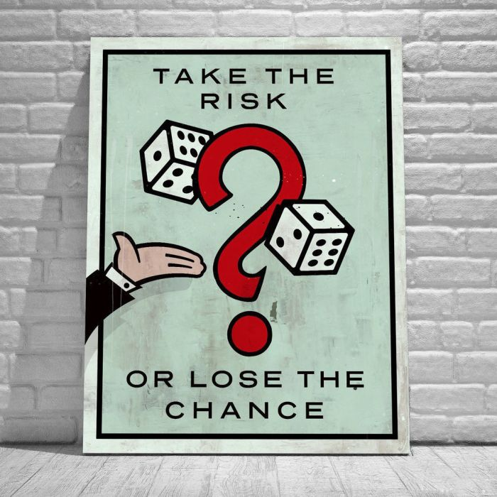 Alec Monopoly Oil Painting on Canvas Graffiti art Take the Risk or Lose the Chance