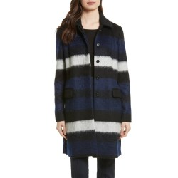 DIANE VON FURSTENBERG Stripe Wool Blend Coat