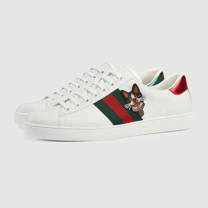 GUCCI Ace Embroidered White Leather Bosco Mens Sneakers