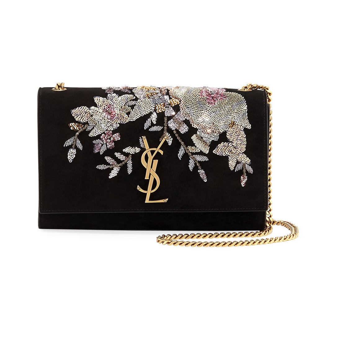Saint Laurent Kate Medium Embroidered Suede Chain Shoulder Bag