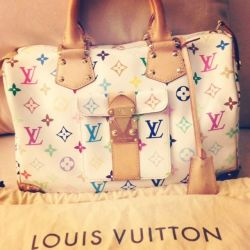 LOUIS VUITTON MULTICOLOR MONOGRAM WHITE SPEEDY 30 HANDBAG