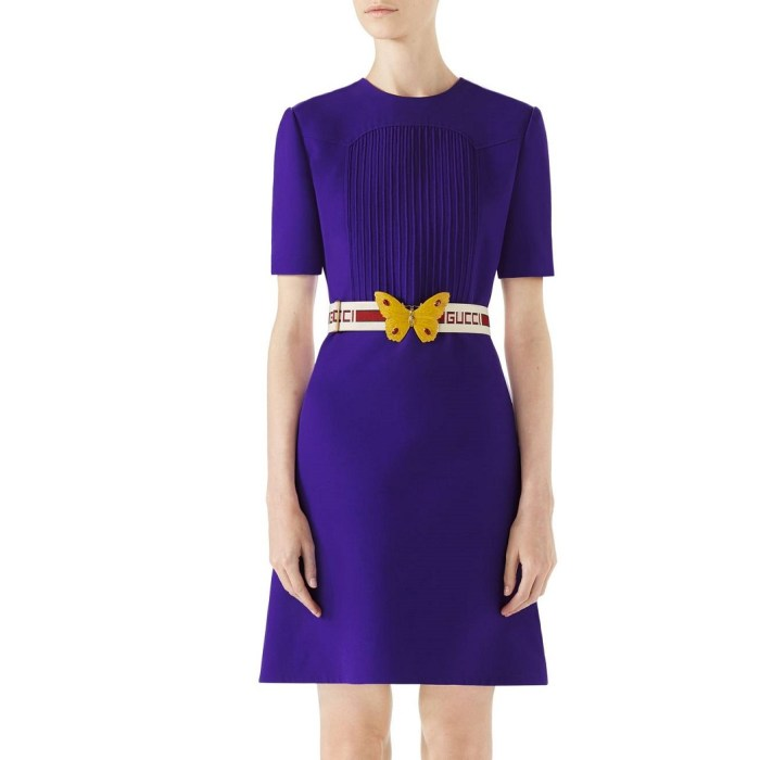 GUCCI Belted Pintuck Cady Crepe Dress