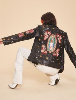 LPA Embroidered Roses And Stars S-M Leather Jacket