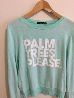 WILDFOX PALM TREES PLEASE Baggy Beach Mint Green Small JUMPER SWEATSHIRT