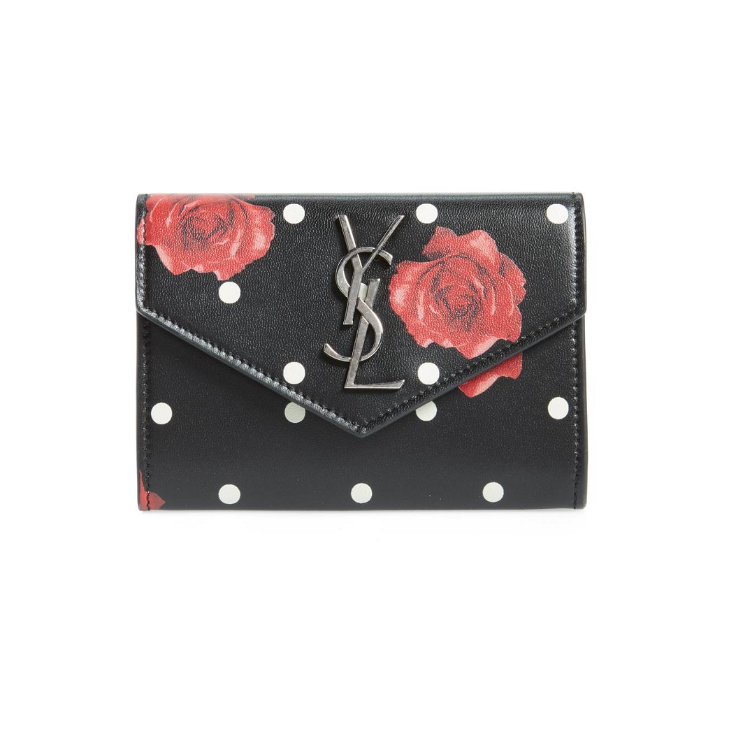 13bcf7a7c766 SAINT LAURENT Rose   Polka Dot Small Leather French Wallet